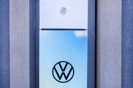 Valencia, Spain - December 1, 2019: Electric chargers of Volkswagen vehicles.