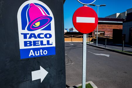 Valencia, Spain - December 1, 2019: Drive thru Taco Bell for travelers in a hurry.