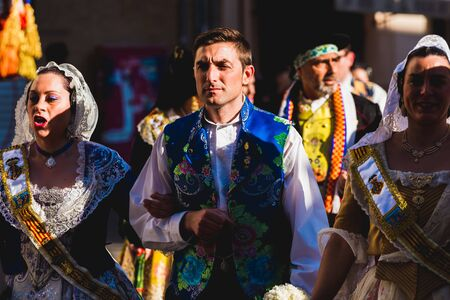 Valencia, Spain - March 17, 2019: Men Falleros dressed in the traditional Valencian costume during the party of Fallas in spring. Editorial