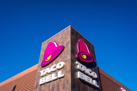 Valencia, Spain - December 4, 2019: Taco Bell logo, Latin American restaurant franchise.