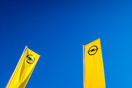 Valencia, Spain - December 4, 2019: banner with the logo of Opel, European car company.