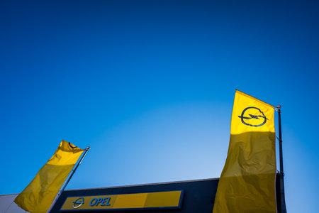 Valencia, Spain - December 3, 2019: Opel logo in a car sales shop in Europe.