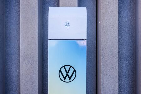 Valencia, Spain - December 1, 2019: Recharge of electric vehicles with a portable post provided by Volkswagen.
