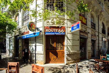 Valencia, Spain - March 19, 2019: Facade of American restaurant Route 66 in Valencia.