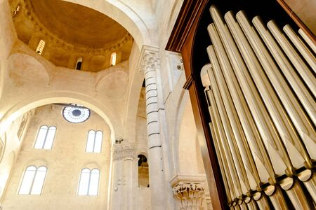 Detail of an organ in Cathedral Bari to play pieces of music during religious celebrations.