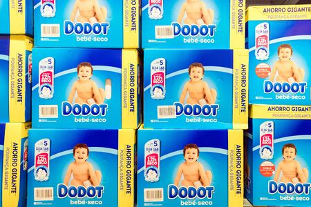 Valencia, Spain - December 20, 2019: Dodot baby diapers in a supermarket linear.