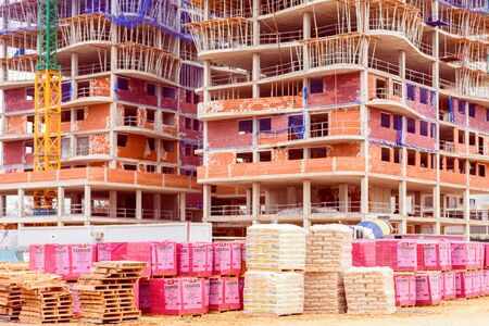 Valencia, Spain - December 20, 2019: Construction of residential buildings on the outskirts of the city of Valencia.