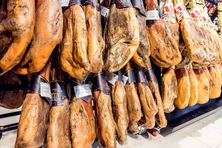 Valencia, Spain - December 20, 2019: At Christmas, Serrano ham is one of the luxuries that Spaniards give themselves.