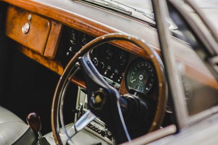 Valencia, Spain - October 14, 2018: Interior of a luxury vintage car.