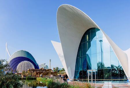 Valencia, Spain- December 28, 2019: Exterior view of the oceanografic aquarium with the city in the background. 에디토리얼