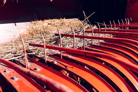 Detail of the separator of a mechanical cereal harvester Stok Fotoğraf