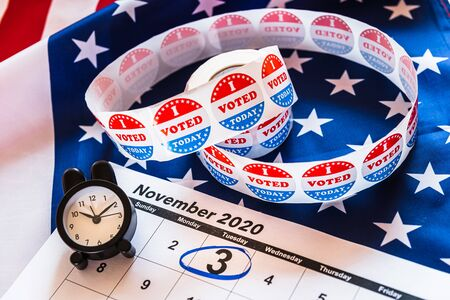On November 3, 2020, American citizens have a duty to vote in presidential elections. Stock Photo