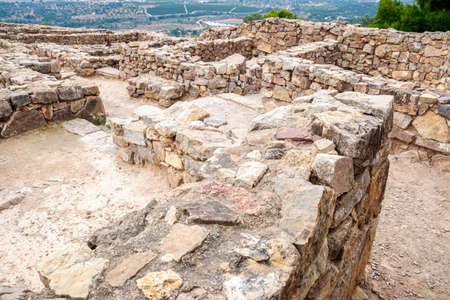 Remains of an ancient Iberian town in a mountainous area of Olocau, Valencia