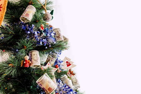 Christmas tree of wealth, with American money bills and wishes of prosperity in the new year.