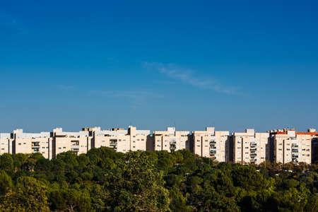 Line of residential buildings built in an area of natural forest.