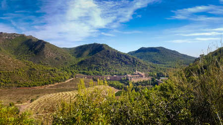 View of the religious monastery of Porta Coeli in the heart of the Calderona mountain range of Valencia.