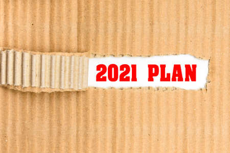 Planning for the year 2021, corrugated torn cardboard background on white paper.