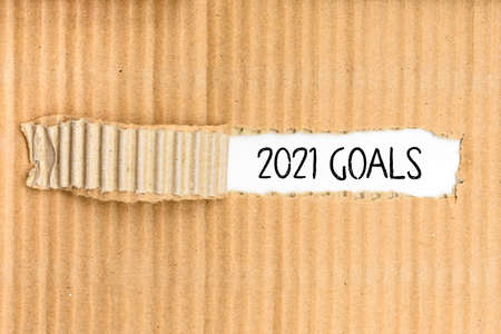 Goals for the year 2021, business corrugated torn paper background.
