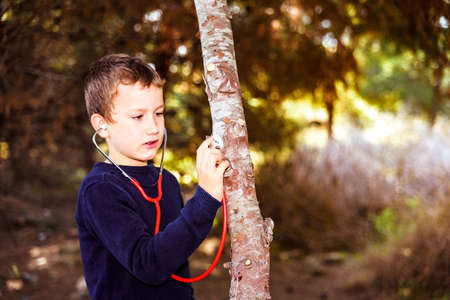 An intelligent child examines the health of a tree using a stethoscope