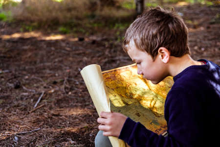 A clever boy searches an ancient map for something buried in a forest.