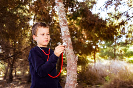Child cares about the environment and the health of the forests and trees in his community. Banque d'images