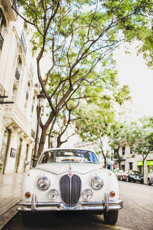 Valencia, Spain - January 22, 2021: A 3/4 liter Jaguar luxury vintage car. Editorial