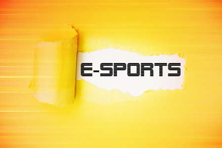 Illustration of torn paper with the word E-Sports.