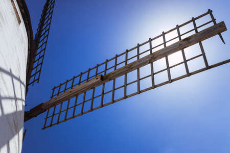 Close-up of an old Manchego windmill, in Spain, used as a tourist attraction.