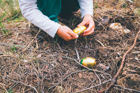 A girl's hand picks up a chocolate easter egg found in a forest.