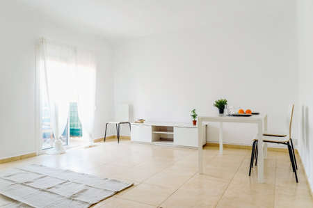 Large and spacious very bright living room with white walls in an old European house. 免版税图像 - 167255439