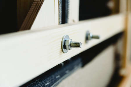 Screw, nut and washer holding some wooden planks in a piece of furniture. 免版税图像