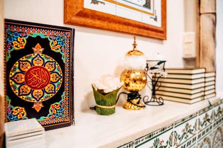 Muslim religious symbols and Koranic books.