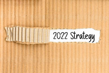 A document folder with the business strategy for 2022 written on its torn cover.