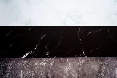 Marble of different types and colors as a sample to choose the luxury material background. 免版税图像