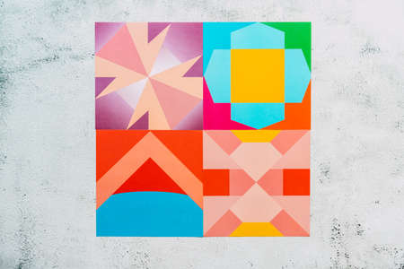 Tiles with geometric shapes to build origami. 免版税图像