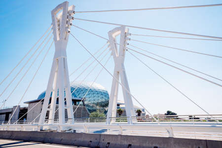 Valencia, Spain - April 20, 2021: Bridge without traffic that gives access to the Valencia trade fair.