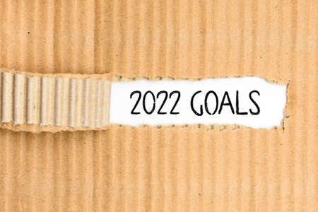 Documents with the most important Goals for 2022, written on its torn cover.