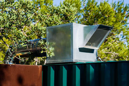 Ventilation box and air extraction to the outside of an industrial kitchen.