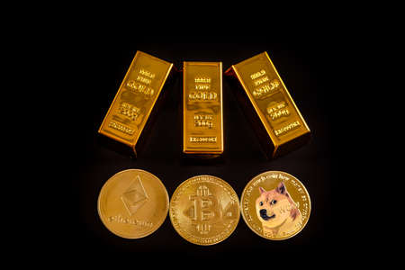 Bitcoin, dogecoin and ethereum are the most traded cryptocurrencies on exchanges in the new speculative economy alongside gold, isolated on black