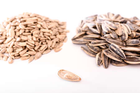 Sunflower seeds rich in fatty acids and minerals, a healthy snack. 免版税图像
