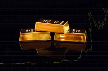 Gold bars are trading higher in the commodities market, with a price chart. 免版税图像