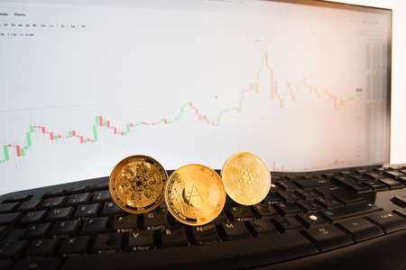 Golden coins of ada cryptocurrencies, cardano coin, controlling the price on a monitor with graphs. 免版税图像