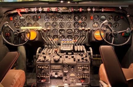 Detailed control panel of old aircraft. Editorial