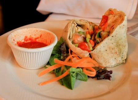 Dish Tortilla Riempito in one Italian restaurant. Stock Photo