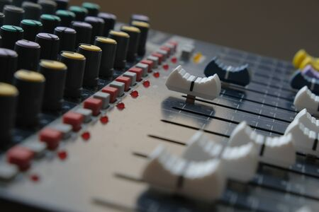 Mixing console close up