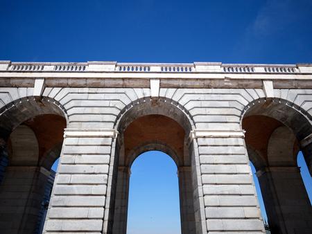 Close-up corridor archway at Palacio Real de Madrid or Royal Palace of Madrid in Spain. Stock Photo