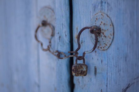worn: Blue weathered door