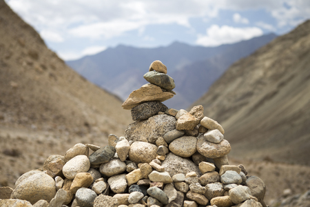 Pile of stones in the mountains of Ladakh