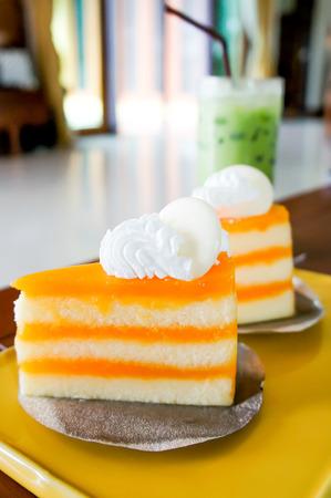 orange cake: orange cake dish on the table Stock Photo