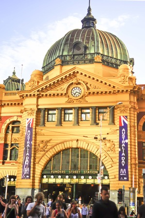 flinders: flinders street station in Melbourne, Australia Editorial